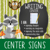 WOODLAND animals - Classroom Decor: Center Signs, student cards