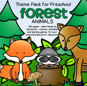 FOREST ANIMALS Math and Literacy Centers for Preschool and Pre-K