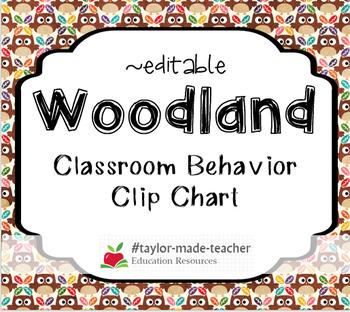WOODLAND FOREST Behavior Clip Chart Behavior Management System {Editable}