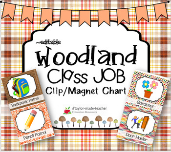 WOODLAND FOREST Classroom Jobs Chart {Editable} 48 JOBS