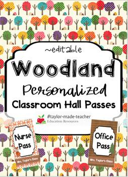 WOODLAND Hall Passes Lanyards {EDITABLE}