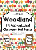 WOODLAND Hall Passes Lanyards {EDITABLE}