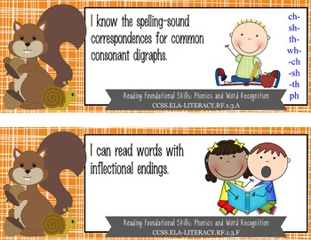 "WOODLAND animals - 1st Grade Common Core Standards ""I CAN"" format / posters"