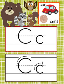 WOODLAND animals - Alphabet Cards, Handwriting, Cards, ABC print with pictures