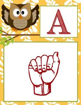 WOODLAND animals - Alphabet Flag Banner, SIGN LANGUAGE