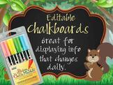 WOODLAND animals - Class Decor: editable chalkboard  POSTERS / Chalk Markers