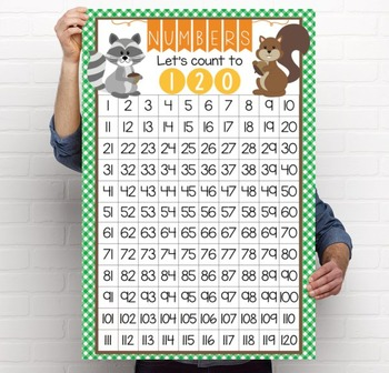 WOODLAND animals - Classroom Decor: Counting to 120 Poster - size 24 x 36