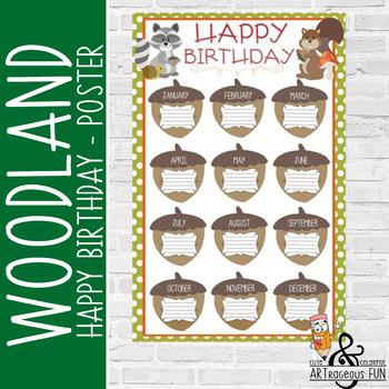 WOODLAND animals - Classroom Decor: Happy Birthday - size