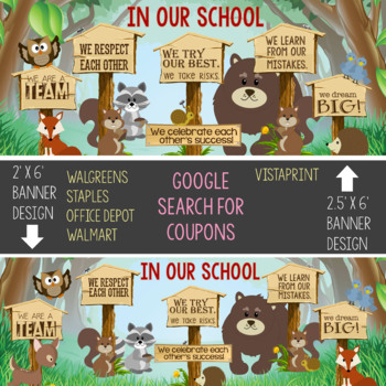 WOODLAND animals - Classroom Decor: LARGE BANNER, In Our Class - horizontal