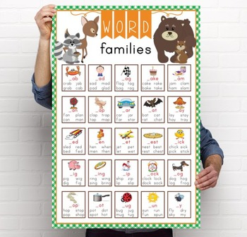 WOODLAND animals - Classroom Decor: Lang Arts, Word Families POSTER -  24 x 36