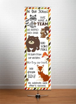 WOODLAND animals - Classroom Decor: X-LARGE BANNER, In Our School
