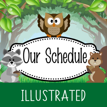 WOODLAND animals - Schedule Cards / editable MS WORD / Illustrated