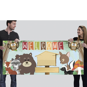 WOODLAND theme - Classroom Decor: LARGE BANNER, Welcome, you personalize