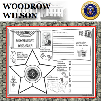 WOODROW WILSON POSTER U.S. President Research Project Biography