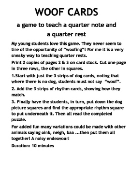 WOOF CARDS - a game to teach rests!