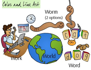WOR Blend Phonics Clip Art Set - Color and Line Art 10 pc set