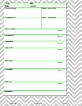 (WORD) 5E Model Lesson Template - Gray Chevron/Mint Green