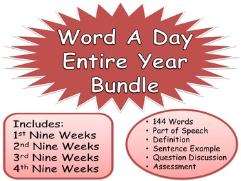 WORD A DAY Entire Year 36 weeks Writing Prompt Questions Critical Thinking
