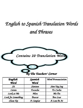 Word and Phrase Translations!! Translate Common English Phrases to Spanish