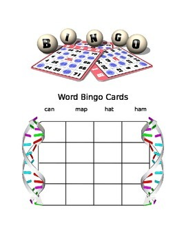 """WORD BINGO FOR """"AT"""", """"AM"""", """"AN"""", and """" AP"""" WORDS"""