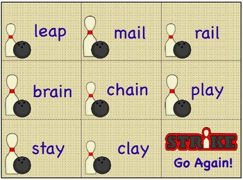 Vowel Teams, Diphthongs & Digraphs Game BOWLING THEME