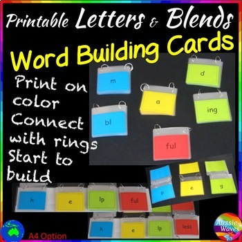 WORD BUILDING and PHONICS ACTIVITY CARDS  for K-2 READING CENTERS