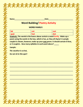 WORD BUILDING / WORD FAMILY ACTIVITY