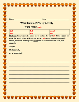 WORD BUILDING / WORD FAMILY ACTIVITY:ALL