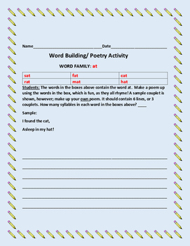 WORD BUILDING / WORD FAMILY ACTIVITY:AT