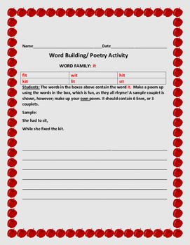 WORD BUILDING / WORD FAMILY ACTIVITY:IT