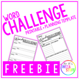 WORD CHALLENGE // PRINTABLE AND PLANNER // LITERACY RESEARCH