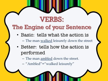 WORD CHOICE ACTIVITY:  VIVID VERBS