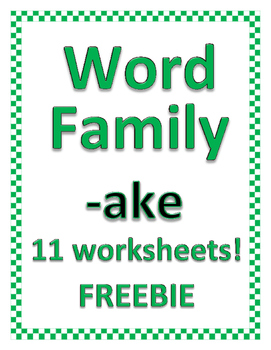 WORD FAMIILY -ake FREEBIE (Bundle of 36 advanced families Available)