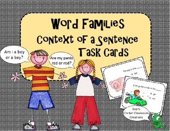 Word Families Task Cards: Word Family Words in Context of a Sentence