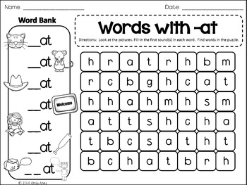 WORD FAMILIES Word Search: Fill-in-and-Find Phonics CVC Puzzles (Short Vowels)