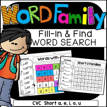 WORD FAMILIES Word Search: Fill-in-and-Find Phonics CVC Pu