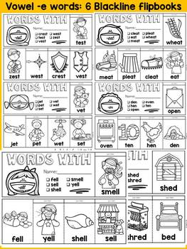 WORD FAMILY FLIPBOOKS: VOWEL -E WORDS: PHONICS