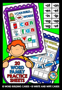 WORD FAMILIES ACTIVITIES: CVC WORD FAMILY WORD WORK CENTERS: WORD BUILDING MATS