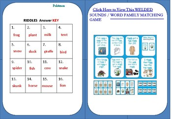 WORD FAMILY - RIDDLES - TASK CARDS  (2 VERSIONS)
