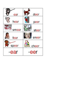 WORD FAMILY SORT CARDS:  long vowels