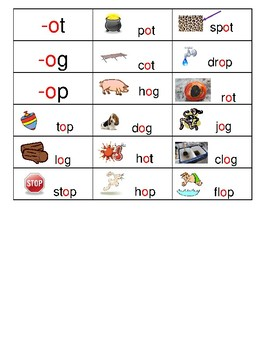 WORD FAMILY SORT CARDS:  short vowels