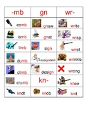WORD FAMILY SORT CARDS: silent letters mb, kn, wr, & gn and soft sounds of c & g