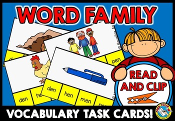 WORD FAMILIES ACTIVITY: WORD FAMILIES CLIP CARDS: WORD FAM