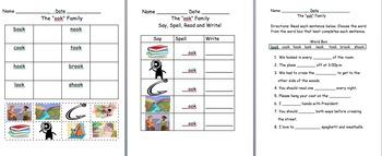 WORD FAMILY worksheets - multiple
