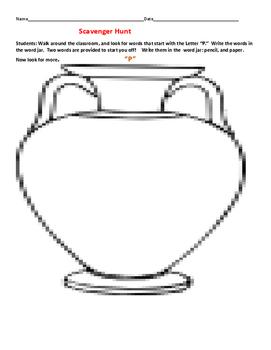 "WORD JAR ACTIVITY: SCAVENGER HUNT FOR THE LETTER ""P"""