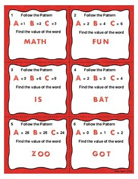 WORD MATH Follow the Pattern and Solve - Task Cards