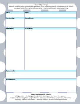 (WORD) NGSS Simple Lesson Template - Gray Polka Dot with B