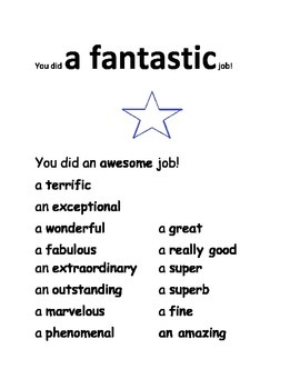 "ONE WORD OF THE WEEK POSTER - THE WORD IS ""FANTASTIC"""