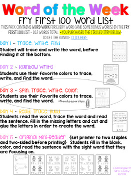 Sight Word Spin, Trace, Write, Color - WORD OF THE WEEK - WEDNESDAY- {FRY 100}
