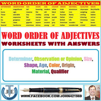 WORD ORDER OF ADJECTIVES: WORKSHEETS WITH ANSWERS